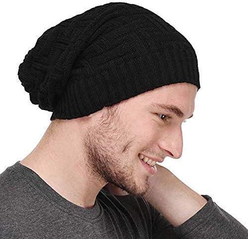 CRUMPLED Beanie Cap for Men Women Skull Slouchy Winter Woolen Knitted Black Inside Fur Mens Caps, Freesize