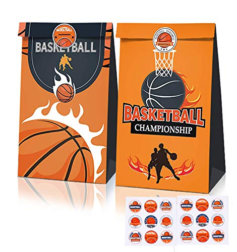 12 Pack Basketball Party Supplies, Candy Favor Bags with Stickers Basketball Goodie Gift Treat Bags for Basketball Themed Birthday Party Decoration