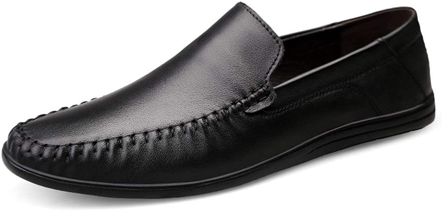 Driving Loafer for Men Boat Moccasins Slip On Style Cowhide Leather Simple Pure color Low Top(Hollow Optional) (color   Black, Size   10 M US)