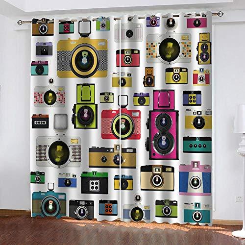 Agvvseso Cortina apagón Cámara colorida de dibujos animados Impresión 3d impermeable protector solar tela de ventana plana sala de estar dormitorio cortina ciega persiana 100% poliéster (W)300x(H)28