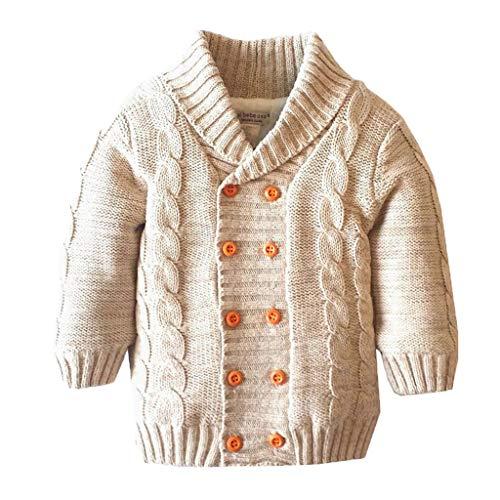 Miss Fortan Mantel für 0-5 Jahre alt Baby, Kleinkind Warme Dicke Bomberjacke Baby-Jungen Stricken Zweireiher Strickjacke Sweatshirt Jungen Mädchen Jacke Tops