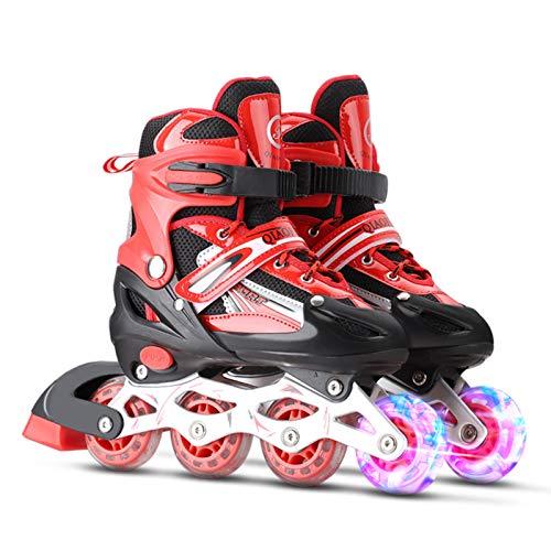 Lixada Einstellbare beleuchtende Inline-Skates mit leuchtenden Rädern für Kinder und Erwachsene für Mädchen und Jungen, Männer und Frauen,Größe 31-34/35-38/39-42