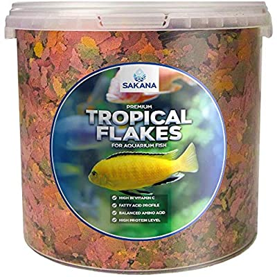 Sakana Tropical Flakes | Premium Quality Aquatic Fish Food Mixture | Healthy and Nutritious all-round Feed for Pond-Dwelling Life | High Protein, Great Source of Vitamins & Easily Digestible (1L)
