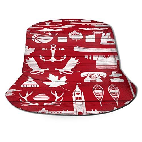 Sombrero de pesca,Enorme colección de canadienses estereotipados en tablero de granero Este grupo contiene palos,Senderismo para hombres y mujeres al aire libre sombrero de cubo sombrero para el sol