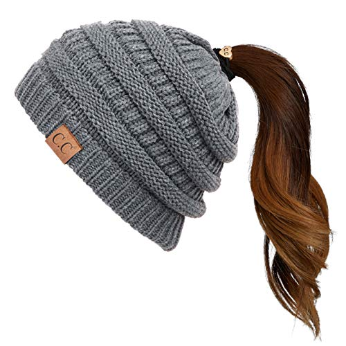 CC Exclusives Solid Color Beanie Tail Hat for Adult (MB-20A) (Dark Melange Grey)
