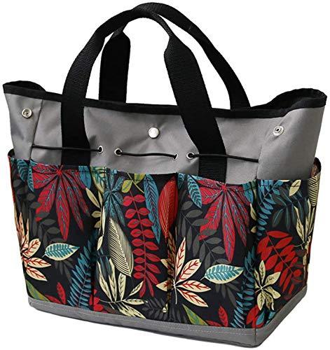 Namvo Garden Tools Aufbewahrungstasche mit Taschen, strapazierfähige Einkaufstasche aus Oxford-Stoff, Gartenset für Frauen, Gartenwerkzeugtasche (grau + mehrfarbig)