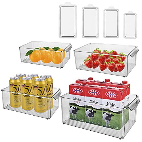 Tecktop Kühlschrank Organizer 4er Set,Aufbewahrungsbox für Gefriergeräte