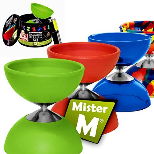 Mister M ✓ Diabolo + Alu Stäbe + GRATIS Online Video in Einer Geschenk-Dose - Das Ulitmative Diabolo Set (Grün)