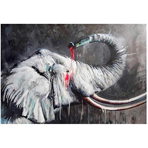 dubdubd Abstrakte Aquarell-afrikanische Elefanten-Malerei auf Leinwand-Plakaten und Drucken Tierwandkunst-Bild für...