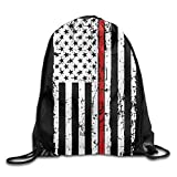 DHNKW Thin Red Line American Flag Honoring Firefighters Drawstring Backpack String Bag