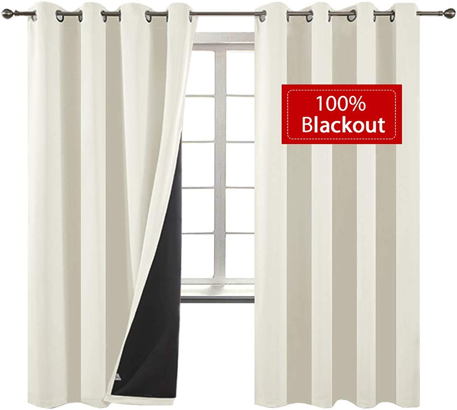 Yakamok 100% Blackout Curtains Thermal Insulated Soundproof Curtains with Black Liner for Bedroom Heat Blocking Drapes for Living Room(52Wx96L, Cream, 2 Panels)