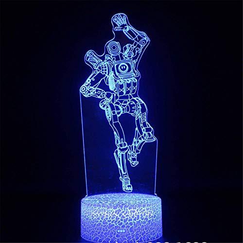 Lámpara de ilusión 3D, luz nocturna 3D para niños APEX Legends Marvin 16 colores interruptor táctil de cambio automático con control remoto para regalos