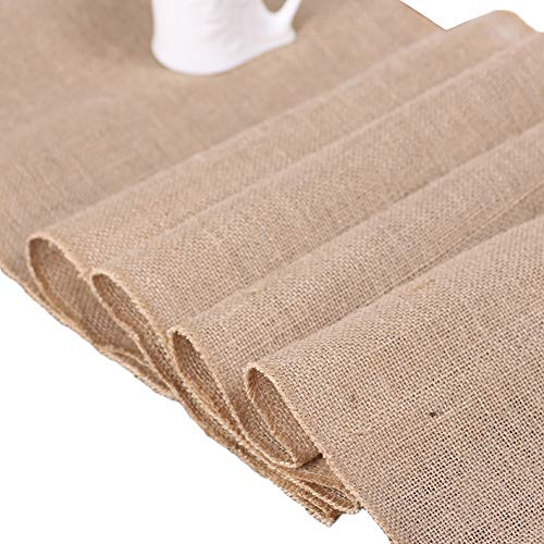 Bozaap Vintage Jute Linen Table Runner Lace Cloth Decorative Restaurant Tablecloth Washable Dinner Table Runner