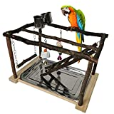 MATERIAL:Tfwadmx pet parrot play stand is made of wood, made of handmade 100% natural environmentally friendly wood. All the parts are connected with screws, not glue. This way, the bird resting place is more sturdy and more stable and will not hurt ...