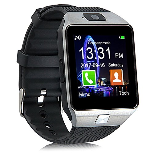 Padgene DZ09 Bluetooth Smart Watch with Camera for Samsung, Nexus, HTC, Sony,LG and Other Android Smartphones (Silver(Black Band))
