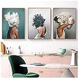 """HYFBH Poster e Stampe Moderni Fiori Piuma Donne Stampa Pittura a Olio Tela Immagini per pareti per Soggiorno 50x70 cm (19,7""""x27,6) x3 con Cornice"""