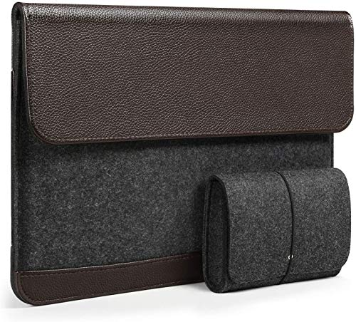 HOMIEE 15.4-15.6 inch Laptop Sleeve Felt & PU Leather Bag with Extra Storage Case, Protective Cover for MacBook Pro/Acer/Asus/Dell/Lenovo/HP/Chromebook Ultra Slim Notebook Business Carry Case-Brown