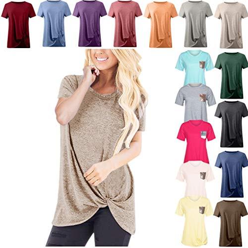 Dorical Tshirt Oberteile für Damen Frauen Kurzarm Rundhal Lose Shirt,Oversize Oberteile,Casual Tops Tee,Ladies Sommer Hemd Lässige Tunika Bluse Shirt,Strand Partykleid