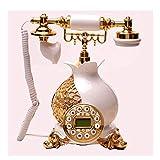 AODXI Flor de Granada Bicolor de Oro y Plata Abierta Pastoral Europea Teléfono Fijo Retro Familia Restaurante Hotel Oficina de línea Fija (Color : Oro)