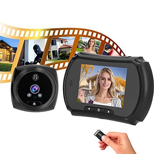 Video Timbre, timbre de la puerta Visor Seguridad Visión nocturna por infrarrojos 720P Fotos de alta definición con lente gran angular de 145 ° para apartamento para hotel