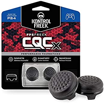 KontrolFreek CQCX Thumb Grips for PlayStation 4 Controller  PS4  and PlayStation 5  PS5  | 2 Mid-Rise Convex Performance Thumbsticks | Black