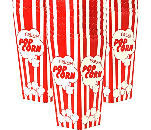 Read About 15 Popcorn Boxes 7.75 Inches Tall & Holds 46 Oz. Old Fashion Vintage Retro Design Red & W...