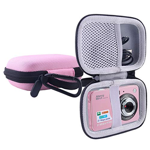 "WERJIA Hard EVA Travel Case for AbergBest GordVE 21 Mega Pixels 2.7"" LCD Rechargeable Digital Camera (Pink)"
