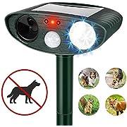 PET CAREE Ultrasonic Dog Repellent, Solar Powered & Waterproof Pir Sensor Repeller for Cats, Dogs, Birds & Skunks & More