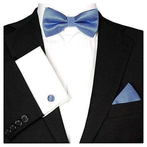 GASSANI GASSANI 3-Set Fliegenset, Royal-Blaue Karierte Herren-Fliege Einstecktuch Manschettenknöpfe, Bräutigam Hochzeitsfliege Anzug-Schleife Taschentuch