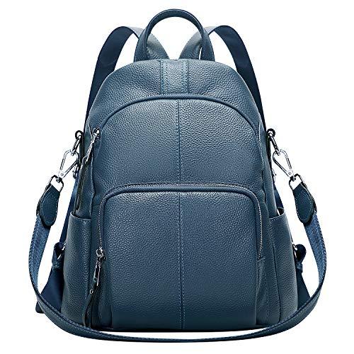 ALTOSY Echtleder Damen Rucksack Tasche Elegant Anti-Diebstahl Tagesrucksack Schultertasche (S81, Indigo Blau)