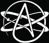 Atheism Atheist Religion Symbol Car Truck Window Bumper Vinyl Graphic Decal Sticker- (6 inch) / (15 cm) Wide GLOSS WHITE Color