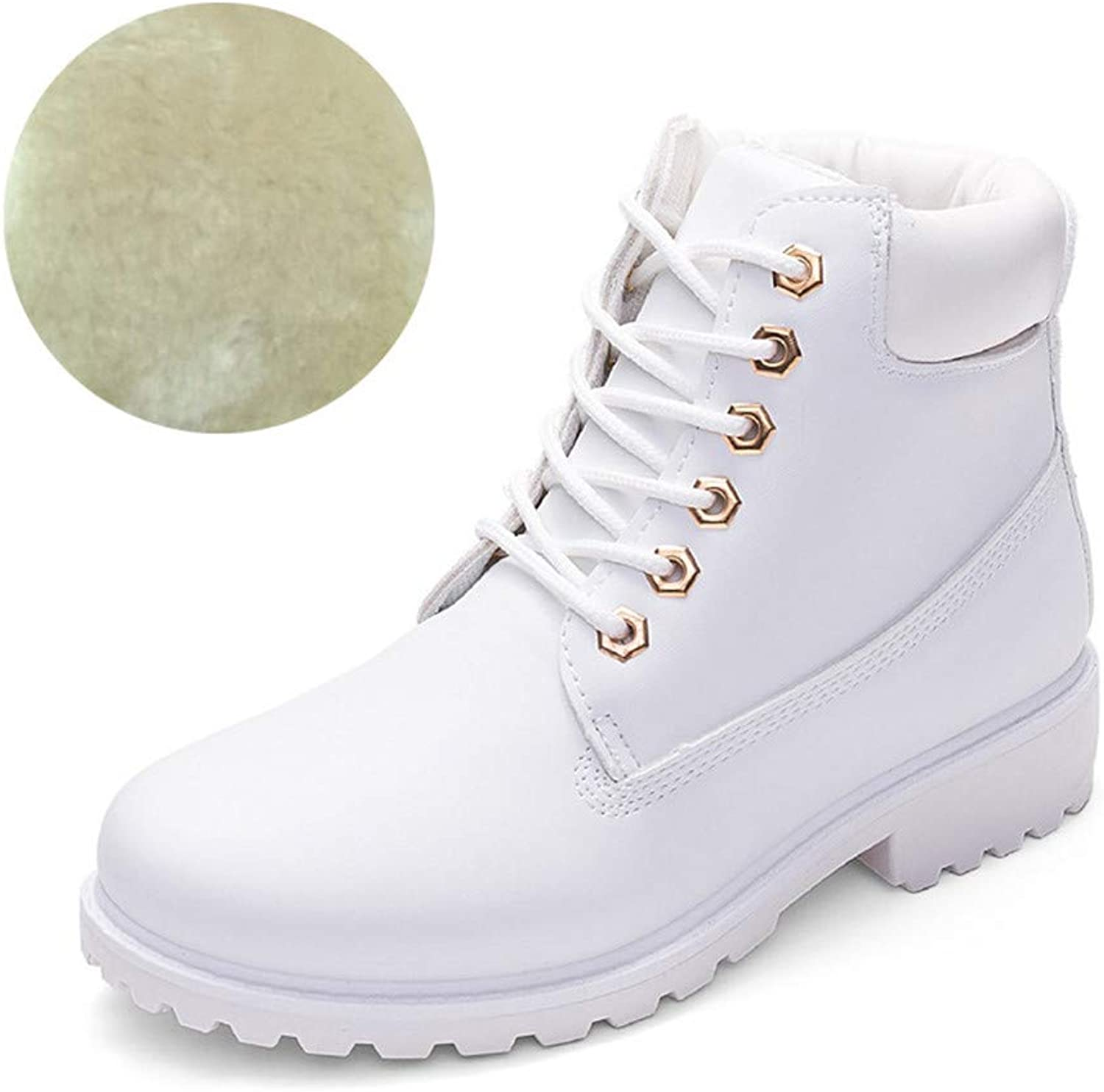 Plus Velours Martin Boots Female Short Boots Outdoor Hiking Boots Single Boots Female Flat Large Size Autumn and Winter Female PU Leather Boots Pink