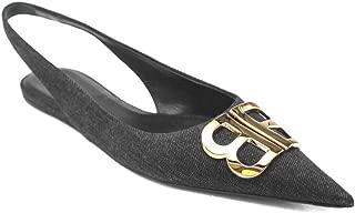 Women's Denim BB Slingback Flat Ballerina Shoes Blue