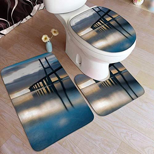 RedBeans - Juego de 3 Alfombrillas de baño Antideslizantes de Franela para baño, diseño del Puente Lisboa Portugal al Amanecer, Suave y Antideslizante