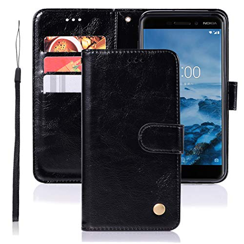 Jhxtech Nokia 6.1 Hülle, Nokia 6 2018 Lederhülle, Premium PU Leder Flip Wallet Hülle Cover [Kartenfächer] [Ständer] [Magnetverschluss] für Nokia 6 2018 / Nokia 6.1 (schwarz)
