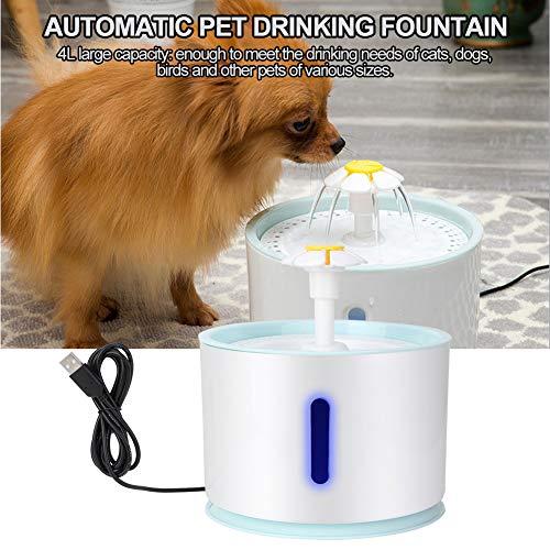 2.4L Fuente de Agua de Circulaci/ón Autom/ática para Mascotas con luz Led Forma de Loto Filtro de Dispensador de Agua para Mascotas para Gatos y Perros HEEPDD Fuente de Agua para Gatos