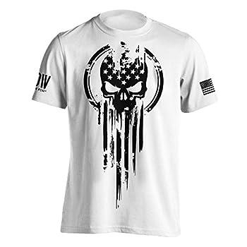 American Warrior Flag Skull Military T-Shirt Medium White