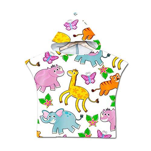 Asciugamano Poncho da Bambino, Odot Cartone Animato Accappatoio Microfibra Asciugatura Rapida per Spiaggia Robe Kids con Cappuccio a Forma (60x80cm,Elefante)