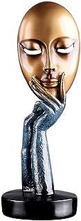 Hosoncovy Statue de penseur en résine - Sculpture de la pensée - Masque - Ornement artisanal - Décoration pour la maison, ...