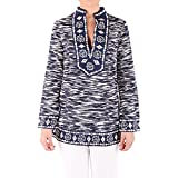 Tory Burch Embroidered Top White and Blue, Mujer, Talla 12.