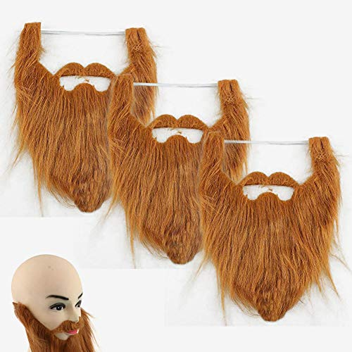 3 Piezas Barbas Falsas Bigotes Postizos Divertidos de Halloween para Fiesta de Disfraz - Marrón