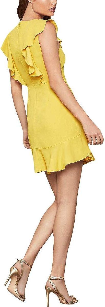 BCBG Max Azria Women's Ruffled Cap Sleeve V-Neck Mini Dress