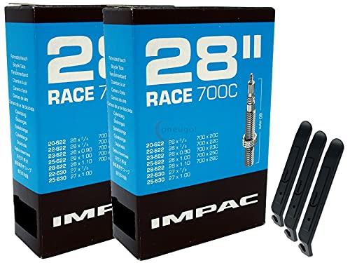 pneugo! Impac Sclaverand 20-622/28-622 (Race) - Juego de 2 cámaras de aire para bicicleta (28', incluye 3 desmontadores de neumáticos)