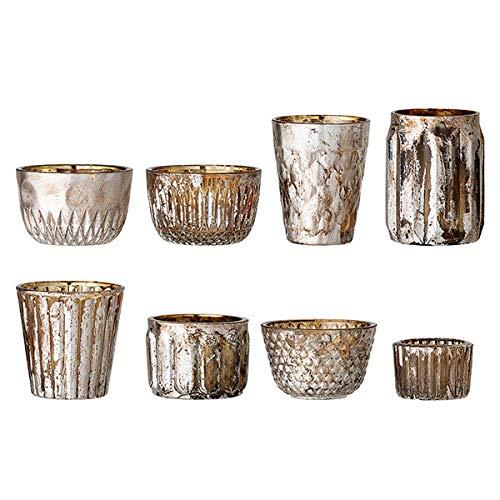 Bloomingville - Holiday Votive - Teelichthalter - Silber - Glas - Ø5,5cm x H:4cm / Ø6 x H: 9 cm - Lieferung erfolgt im 8er - Set