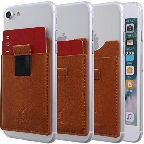 Monca Slide Up Wallet for Back of Phone Stick On Credit Card Holder for Cell Phone Pocket Leather (Light Brown)