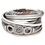 Fabulous Bijoux Bracelet Wrap en Cuir Vintage avec Strass Brillant Faux Diamants Signe Infini et Perle de Verre Gris
