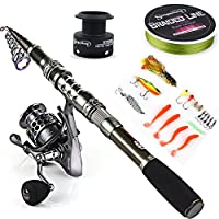 Sougayilang Telescopic Fishing Rod Reel Combos with Carbon Fiber Fishing Pole Spinning Reels and Fishing Accessories for Travel Ocean Saltwater Freshwater Fishing(1.8M/5.91FT)