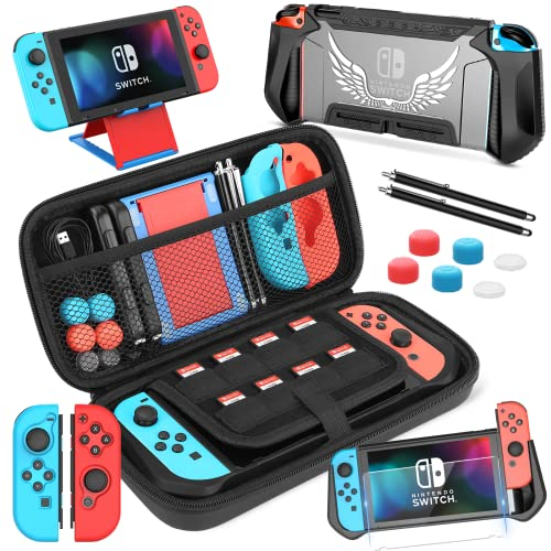 HEYSTOP Case Compatible with Nintendo Switch Carrying Case, 14 in 1 Switch Accessories Include Dockable TPU Case, Screen Protector, Grip Case, Playstand, Touchscreen Pen and Thumb Cap, Black