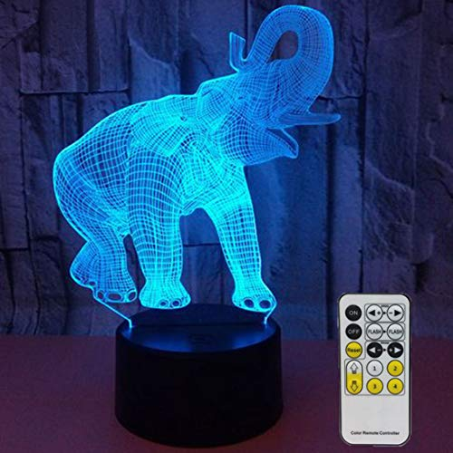 Novelty Elephant 3D Night Light 7 Colors Changing Nightlight with Smart Touch & Remote Control Optical Illusion Lamps for Kids or as Gifts for Women Kids Girls Boys