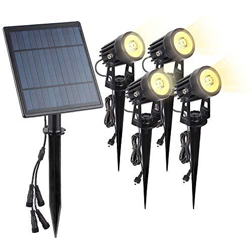 4Pcs 6W Solar Spotlights Outdoor, Solar LED Spot Lights Wasserdichte, dimmbare Solar Landscape Light Security Baumlampen Auto für Garten, Baum, Terrasse, Hof, Auffahrt, Poolbereich (Warm White)
